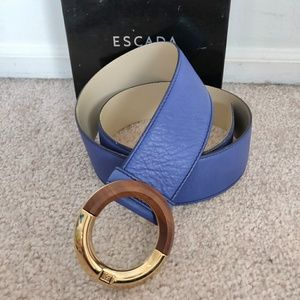 Escada Blue Leather Belt with Wood & Brass Buckle
